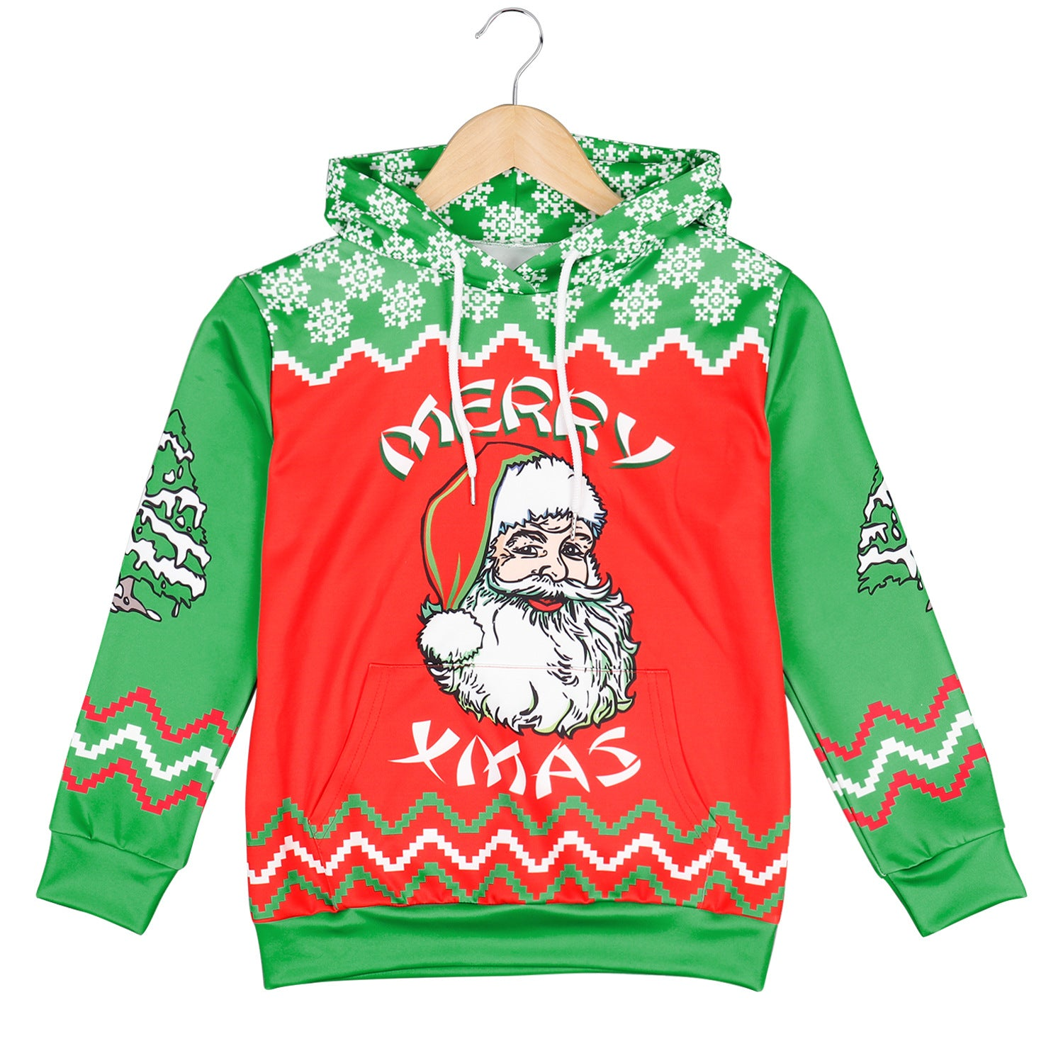 Kids Funny Ugly Christmas Santa Claus Print Children Boys Pullover Hoodie Sweatshirts and Pants Two Pieces Set Pajamas Outfit