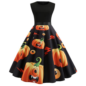 Halloween Pumpkin Print Sleeveless Flare Dress