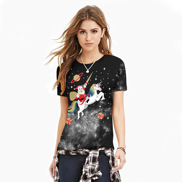 Christmas Print Casual Short Sleeve T-shirt