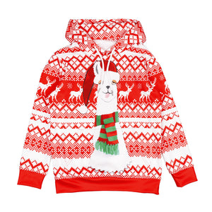 Kid Funny Ugly Alpaca Christmas Print Children Boys Pullover Hoodie Sweatshirts and Pants Two Pieces Set Pajamas Outfit