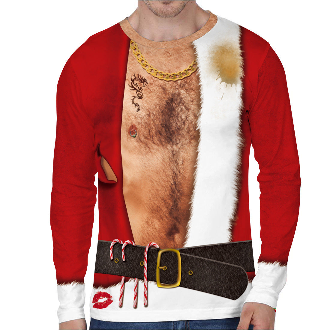 Faux Chest Hair Print Funny Ugly Christmas Long Sleeve T-shirt
