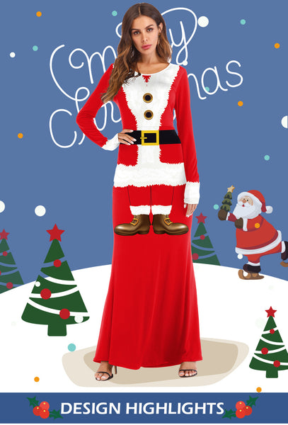 Women Ugly Funny Christmas 3D Print Santa Claus Costume Party Long Sweater Dresses