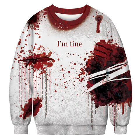 Halloween Blood Digital Print Sweatshirts Plus Size Long Sleeve Shirt