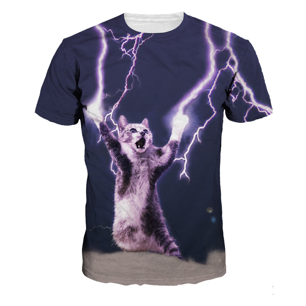 Lightning Cat Print Casual Sleeve Short Sleeve T-shirt