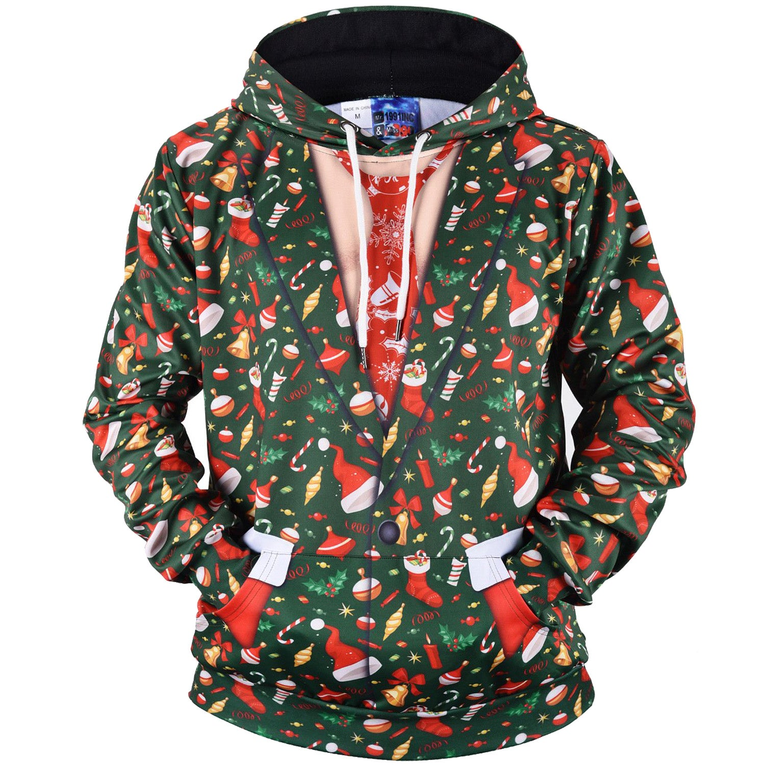 Fashion Fake Two-piece Chirtsmas Print Hooded  Loose Sweatshirt