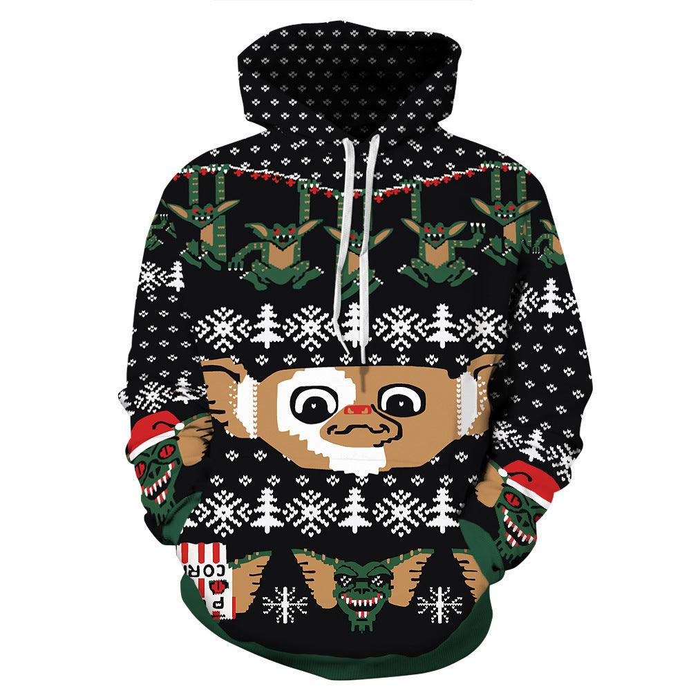 Little Monster Print Christmas Hoodie