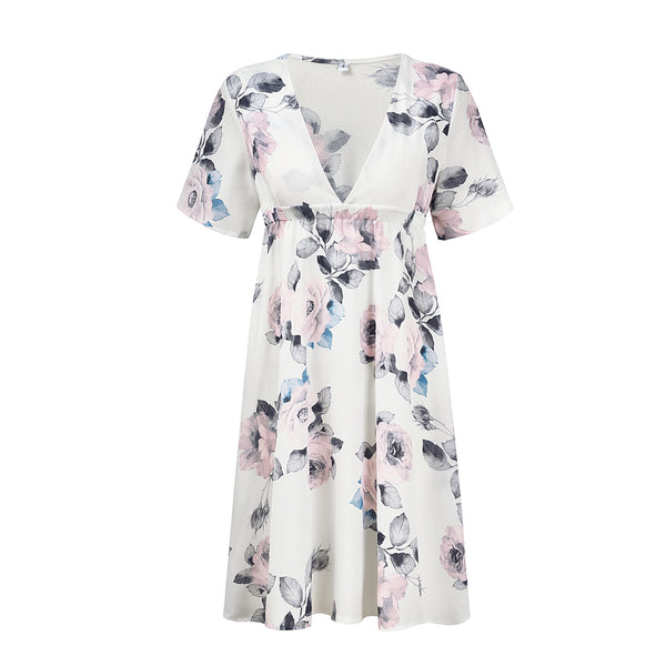 Printed Chiffon Short Stretch Maternity Dress
