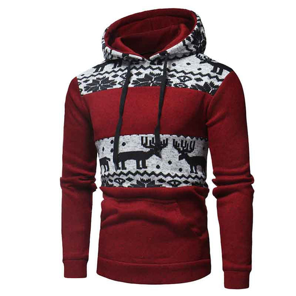 Men's Fawn Print Warm Hoodie Sweater