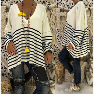Printed Striped V-neck Long-sleeved Loose Sweater