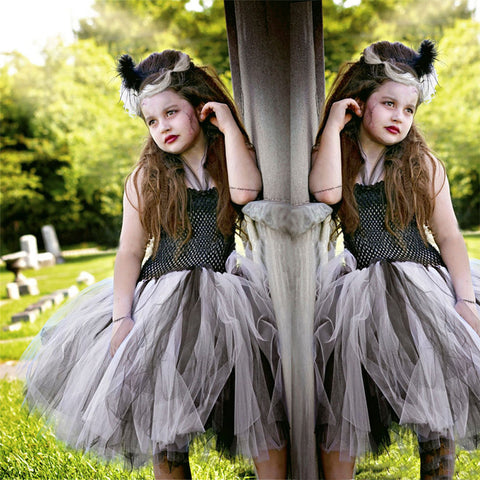 Girls Frankenstein Bridal Evening Dress Halloween Girls Dresses Kids Dress Children's Dress
