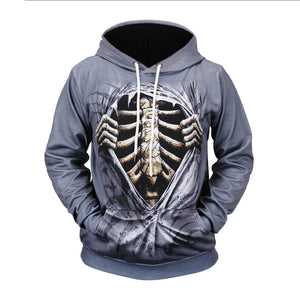 Fake Two-piece  Leather 3D Skeleton Printed Halloween Hoodie