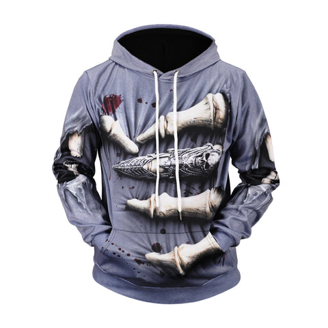 Horrible Finger Printed Men Hoodie Casual Sweatshirt