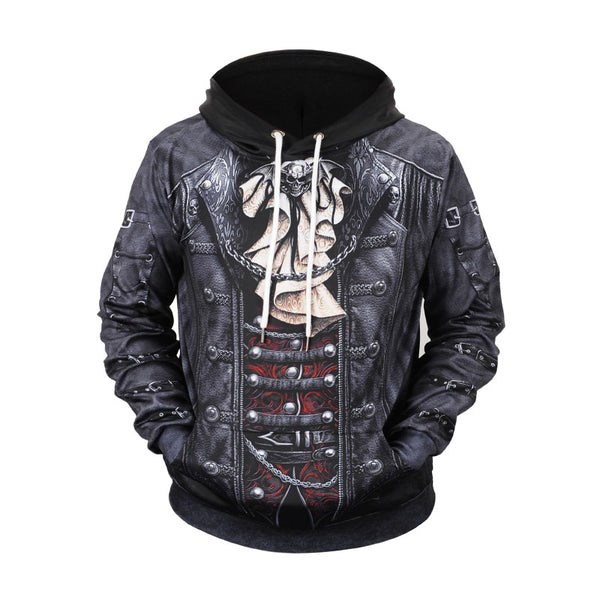 3D Skull Print Men Black Hoodie Long Sleeve Sweatshirt
