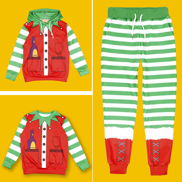 Kids Funny Ugly Christmas Print Children Boys Pullover Hoodie Sweatshirts and Pants Two Pieces Set Pajamas Outfit