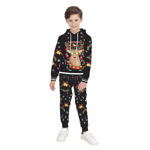 Kid Ugly Reindeer Christmas Print Children Boys Pullover Hoodie Sweatshirts and Pants Two Pieces Set Pajamas Outfit