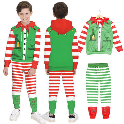 Kids Funny Ugly Christmas Faux Real Print Children Boys Pullover Hoodie Sweatshirts and Pants Two Pieces Set Pajamas Outfit