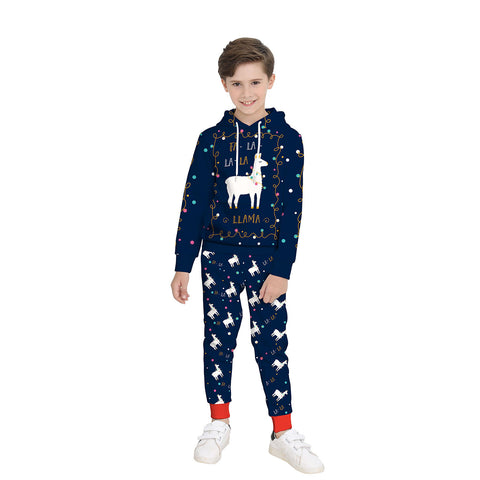 Kid Funny Ugly Reindeer Christmas Print Children Boys Pullover Hoodie Sweatshirts and Pants Two Pieces Set Pajamas Outfit