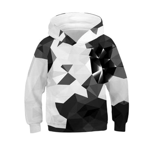 Children's Black and White Square Print Hooded Sweatshirt
