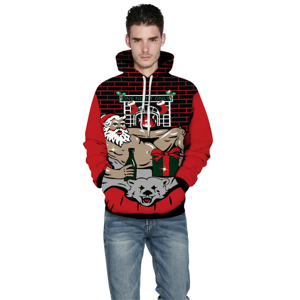 Muscle Santa Claus Printed Hooded Xmas Sweatshirt
