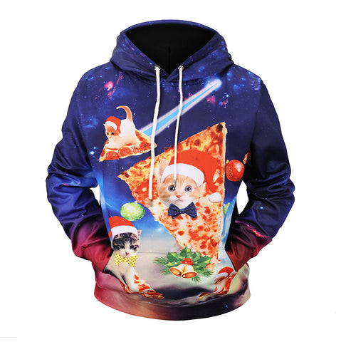 Christmas  Cat Print Hooded Sweatshirt