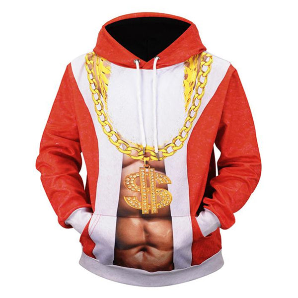 Santa Claus Gold Chain Printed Hooded Sweatshirt