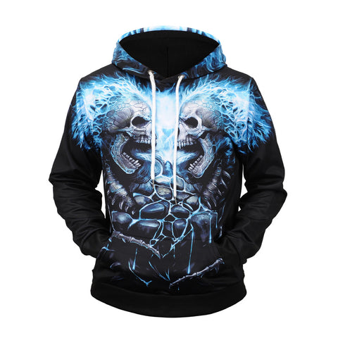 Men Halloween 3D Skull Print Hoodie Hooded Sweatshirt