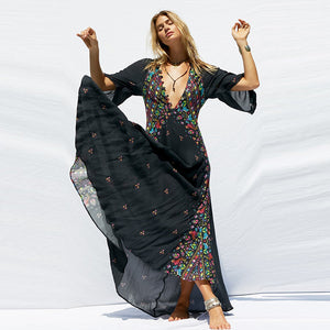 Bohemian Deep V Neck Half Sleeve Maxi Dress