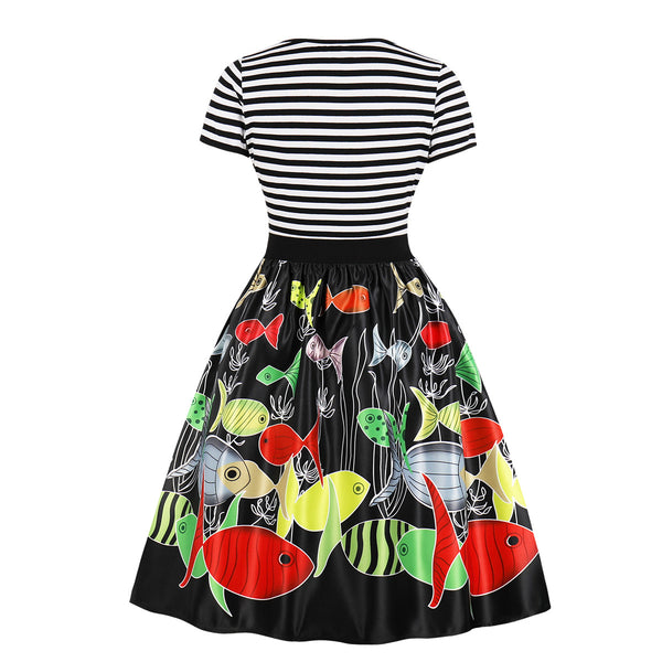 Christmas Print Striped Vintage Dress
