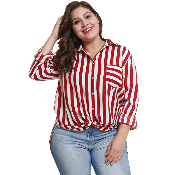 Striped Button Design Plus Size Shirt