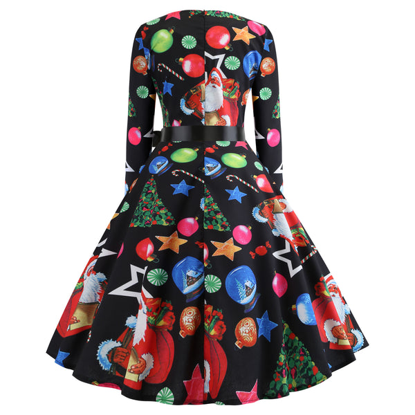 Christmas Print Long Sleeved Dress with Ribbon