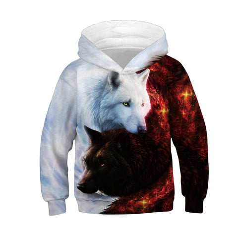 Children's Wolf Print Hooded Sweatshirt