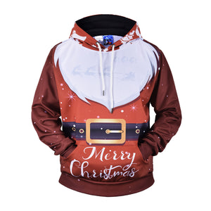 3D White Mustache Printed Christmas Loose Hoodie