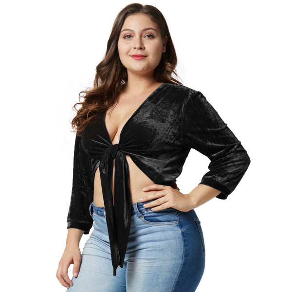 Plus Size Sexy Laced Deep V-neck  Velet T-shirt