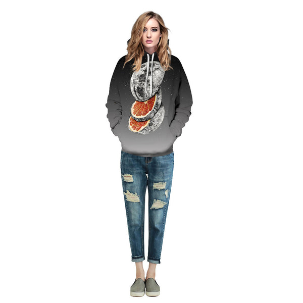 Creative Moon Printed Round Neck Sweatshirt