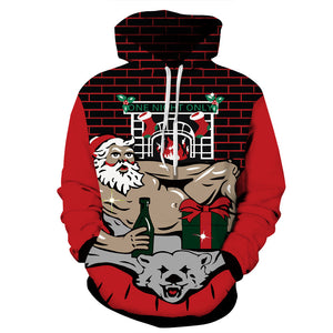 Muscle Santa Claus Ugly Christmas Printed Hooded Sweatshirt Hoodie Sweater Jacket For Men Women