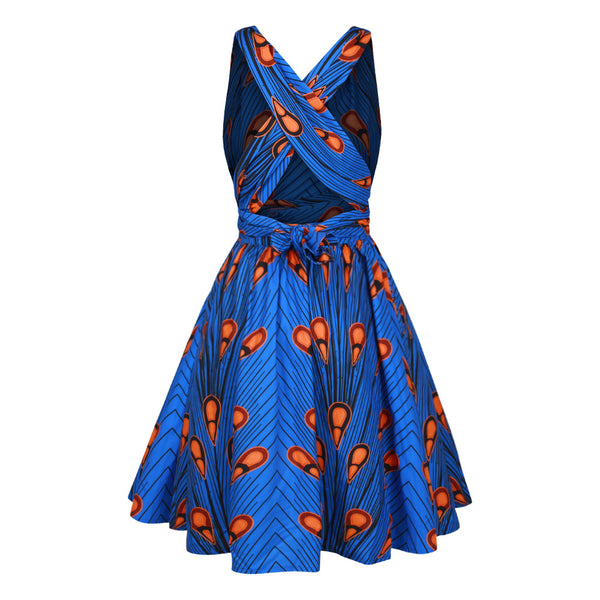 Printed Multi-Piece Belt Pleated V-neck Large Swing Dress