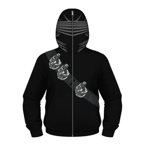 Children's Special Forces Snake Eye Print Zip Masked Hoodie