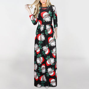 Santa Print  3/4 Sleeve Party Christmas Dresses