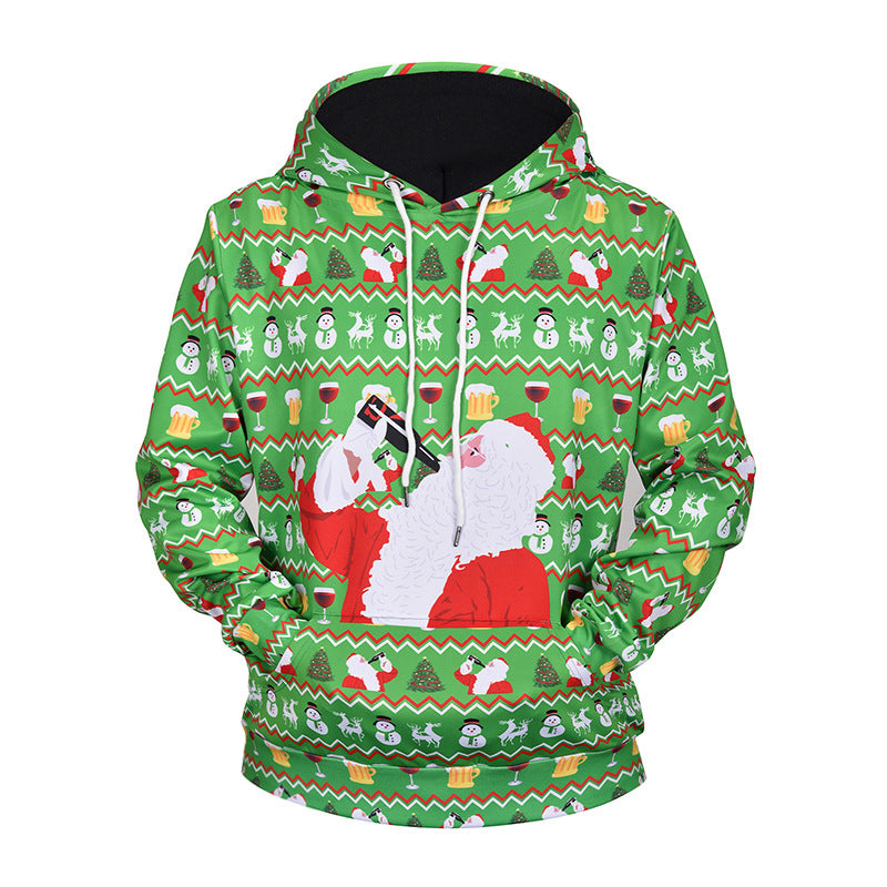 Santa Claus 3D Printed Hooded Loose Couple Xmas Sweatshirt