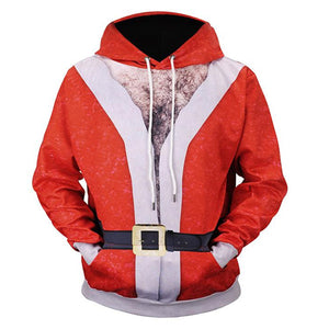 Santa Claus Hooded Autumn and Winter 3D Print Loose Hoodie
