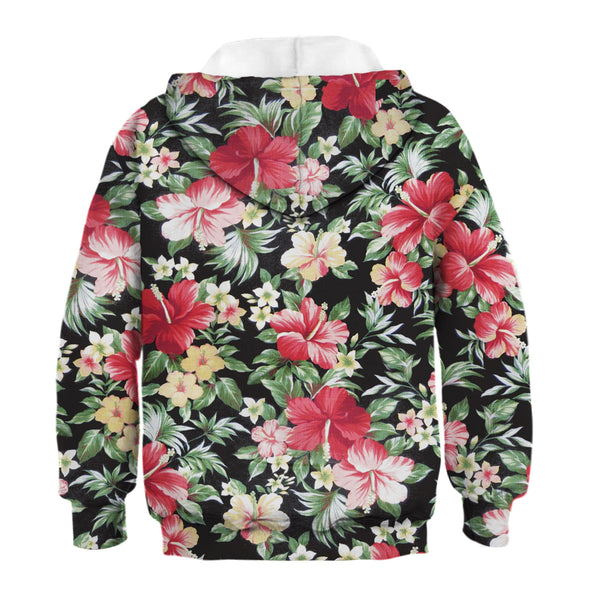 Children's Flowers Print Hooded Sweatshirt