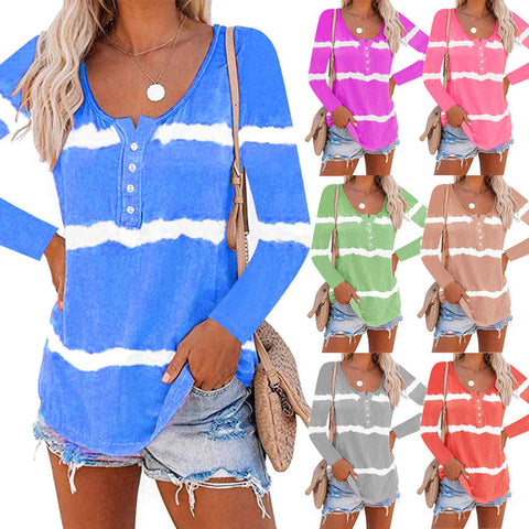 Women Tie Dye Stripe Fashion Casual Long Sleeve Button Shirt Blouse T-shirt Tops