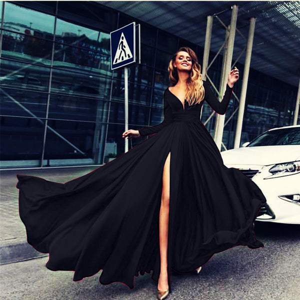 V-Neck Long-Sleeve High-Waist Maxi Dress
