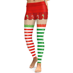 Christmas Print Sports Slim Women Tights Leggings Active Yoga Pants Pajama Pants