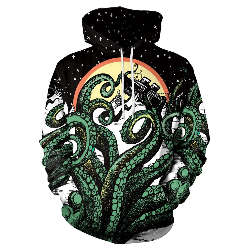 Octopus Digital Print Loose Couple Casula Hoodie
