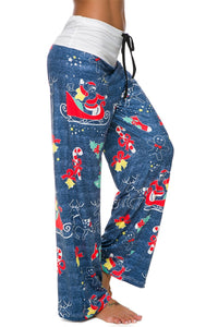 Funny Christmas Print Stitching Women Casual Wide Leg Pants Pajama Bottoms