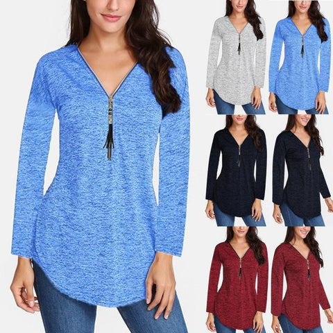 V-neck Tassel Zip Solid Color Long Sleeve T-shirt