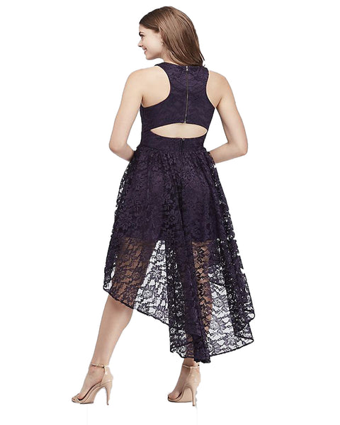 Women's  High Low Cocktail Party Bridesmaid Floral Lace Dress