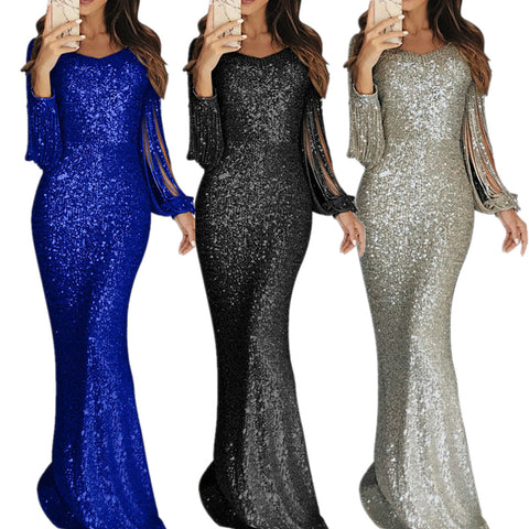 Sequin Fringe Sleeve Party Maxi Evening Dress