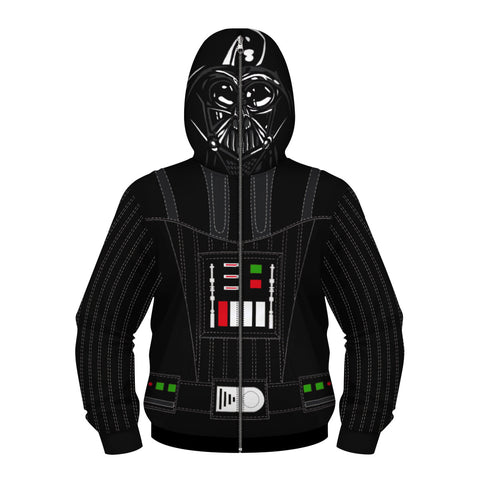 Children's Black Warrior Print Zip Masked Hoodie
